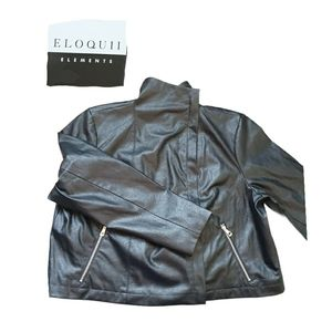 """Eloquill Black """"leather"""" jacket, Plus size,"""